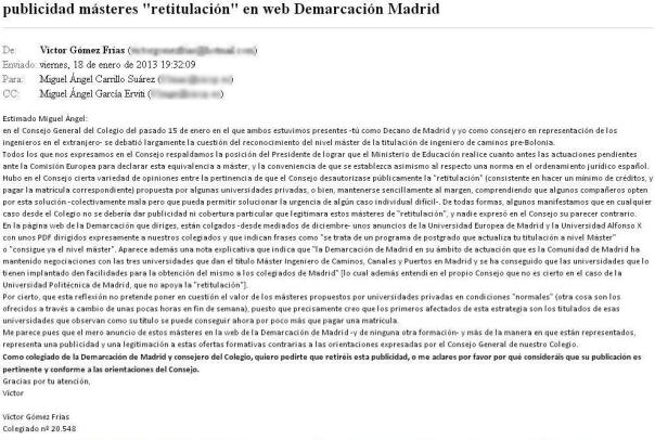 Carta de Victor Gómez